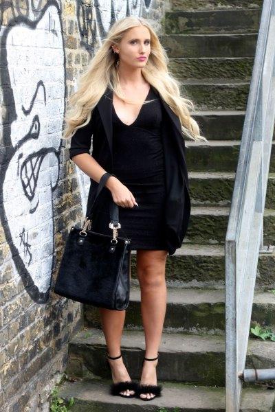 black half sleeve shift dress open toe fur heels