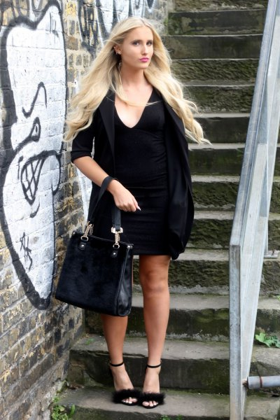 black half sleeve shift dress open toe fur heels
