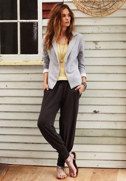 black harem pants grey blazer yellow vest top