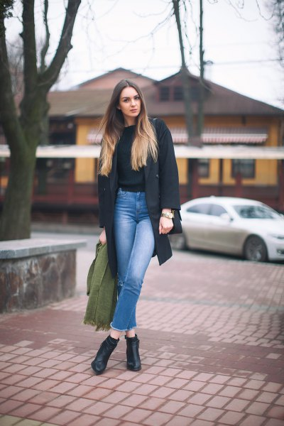 black knit sweater grey wool coat mom jeans