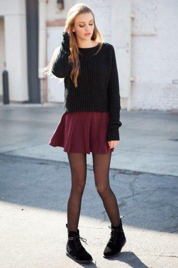 black knit sweater mini skirt leggings boots