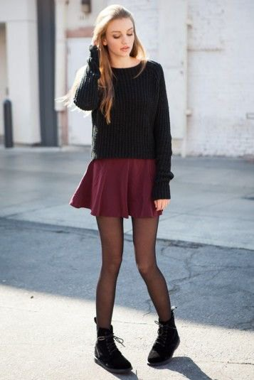 black knit sweater mini skirt leggings boots