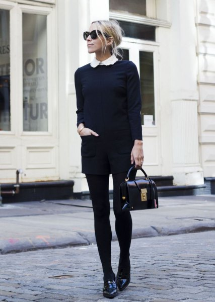 black knit sweater shorts leggings loafers