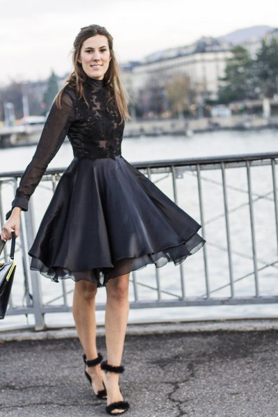 black lace chiffon dress