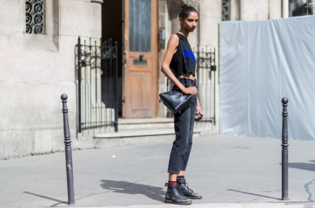 black leather ankle boots sleeveless cropped t shirt