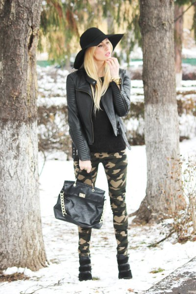black leather jacket army pants