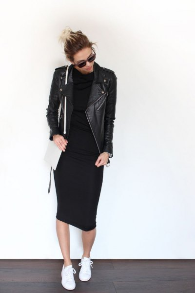 black leather jacket midi dress outfit