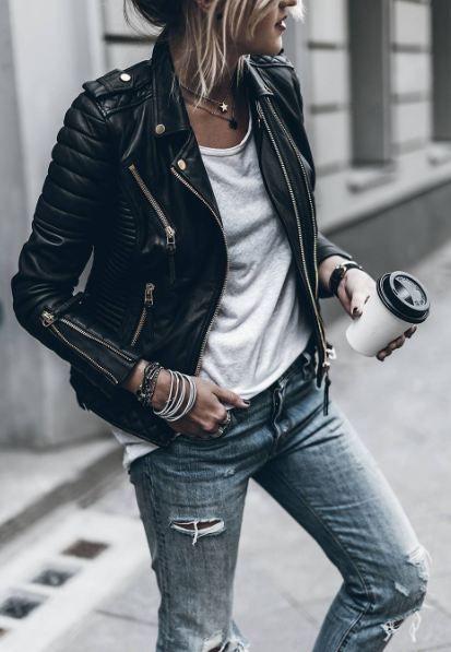 black leather moto jacket funky