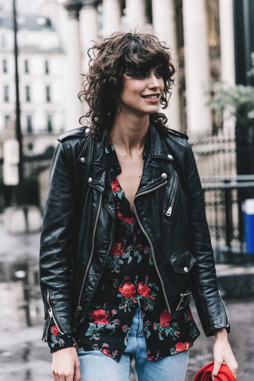 black leather moto jacket floral shirt