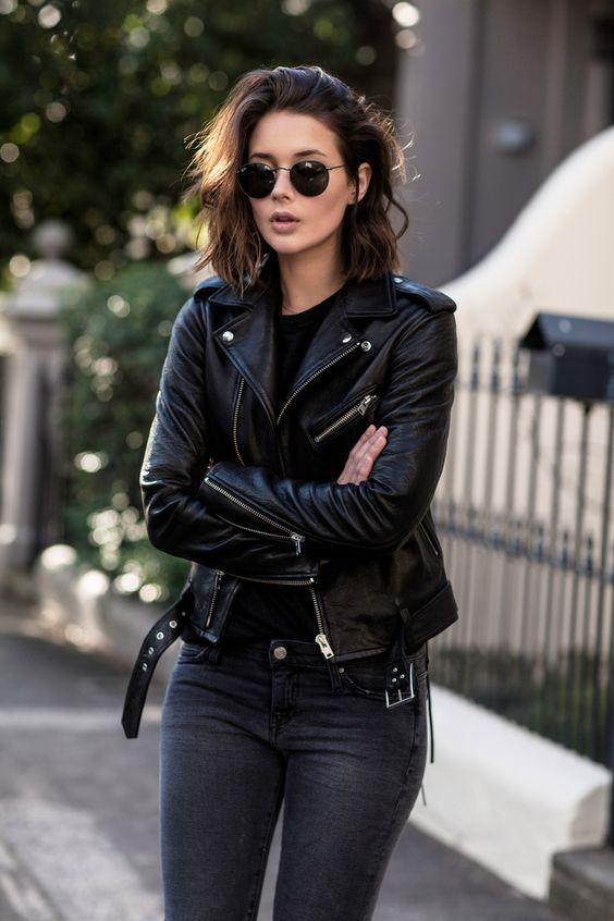 black leather moto jacket grey jeans