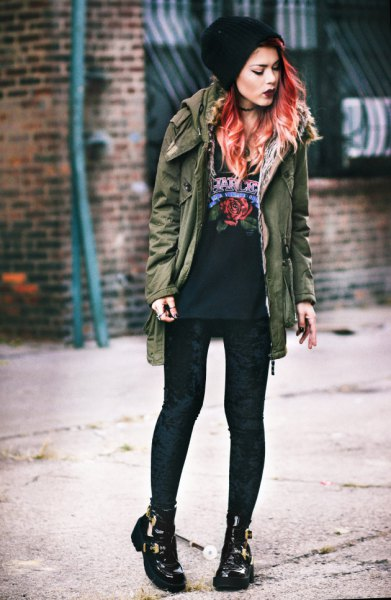 black leggings army green military jacket