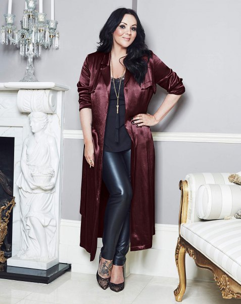 black maxi satin jacket leather leggings