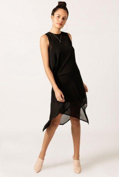 black midi dress chiffon sheer overlay