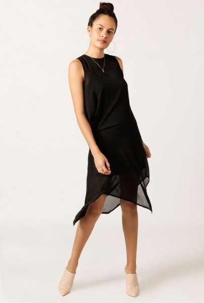 black midi dress chiffon sheer overlay