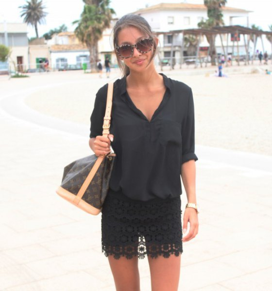 black mini lace skirt button up shirt