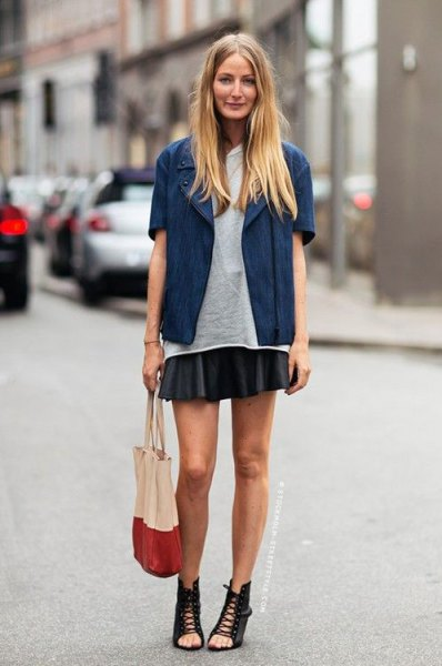 black mini skirt blue short sleeve wool jacket