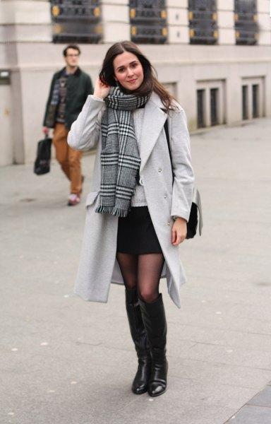 black mini skirt long trench coat scarf
