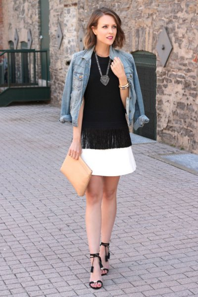 black open toe ankle strap heels white skater skirt