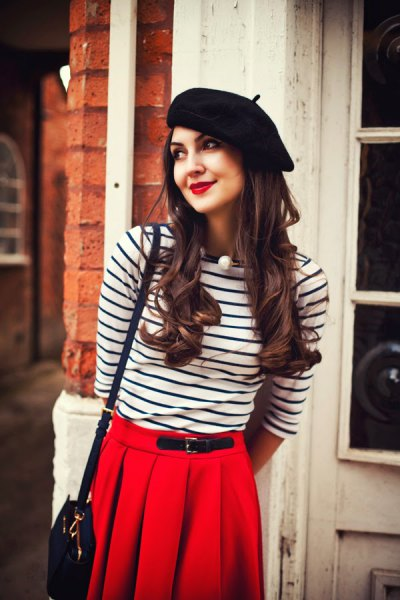 black painters hat long sleeve striped t shirt pleaded skirt