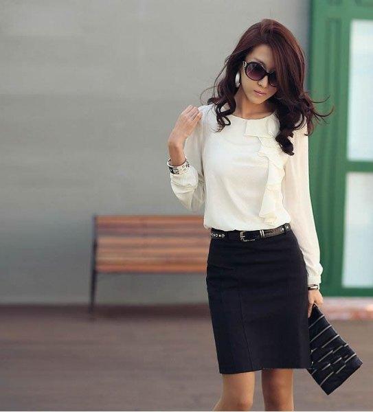 black pencil skirt white blouse