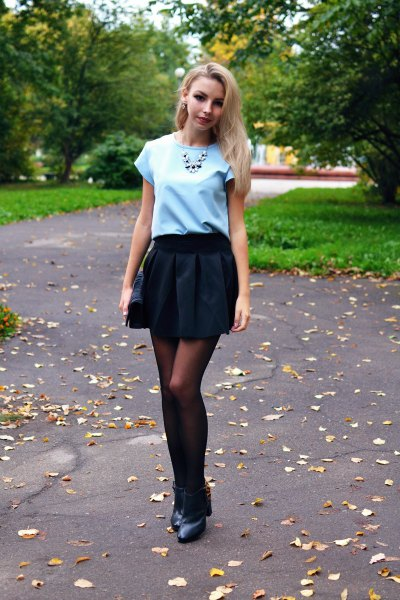 black pleaded mini skirt sky blue tee