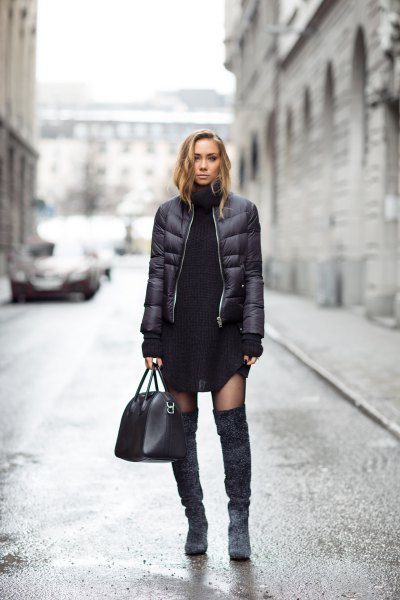 black puffer jacket skirt knee high boots