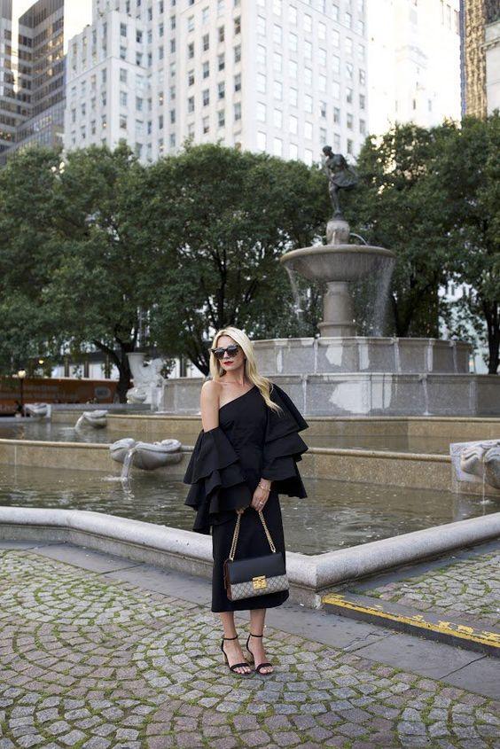 black ruffle dress oversized