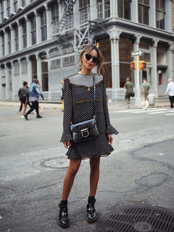 black ruffle dress polka dot