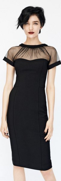 black sheath dress with sheer collar