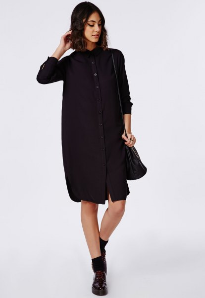 c913fa8589 15 Best Outfit Ideas on How to Wear Black Shirt Dress - FMag.com