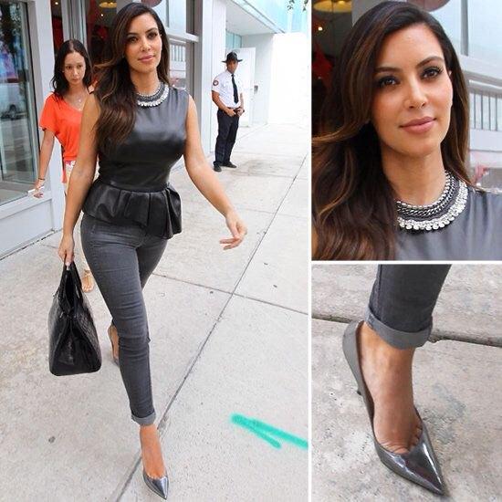 black silk pelpum top grey skinny jeans