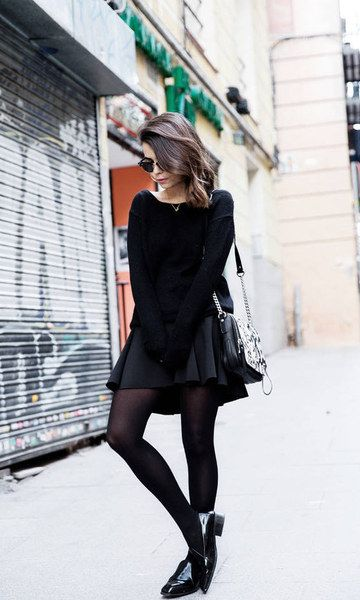 black skater skirt all black