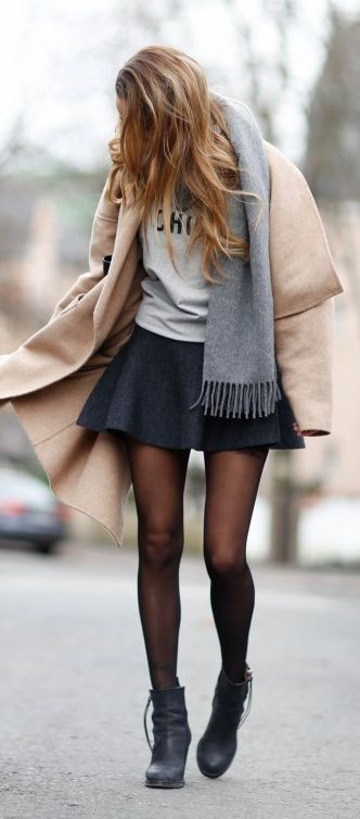 black skater skirt camel grey