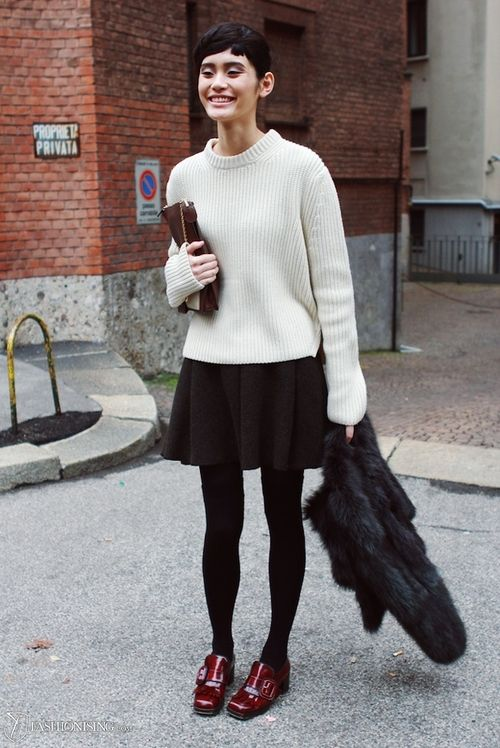 black skater skirt model off duty