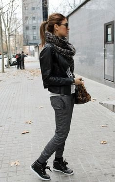 black studded high top leather sneakers scarf