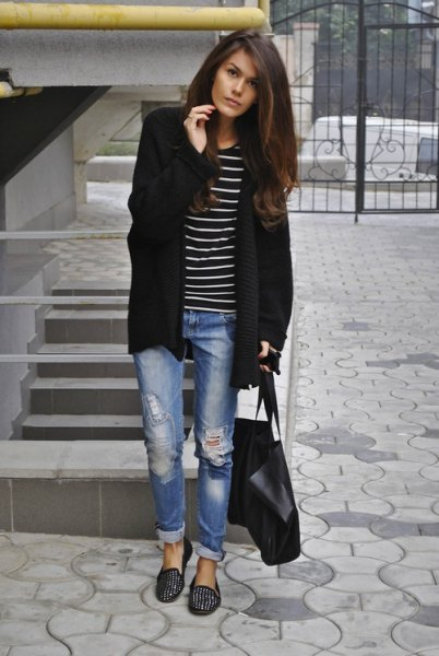 black studded loafers cardigan boyfriend jeans