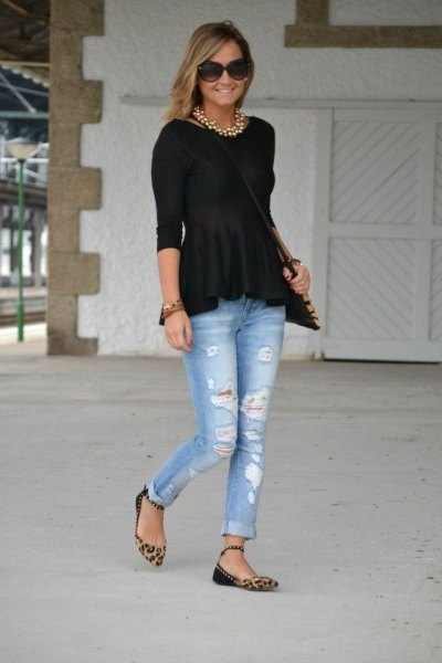 black sweater ripped jeans cheetah flats