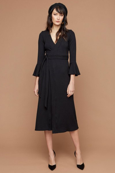 black three quarter bell sleeve midi wrap dress