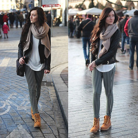 black white leggings leather jacket boots