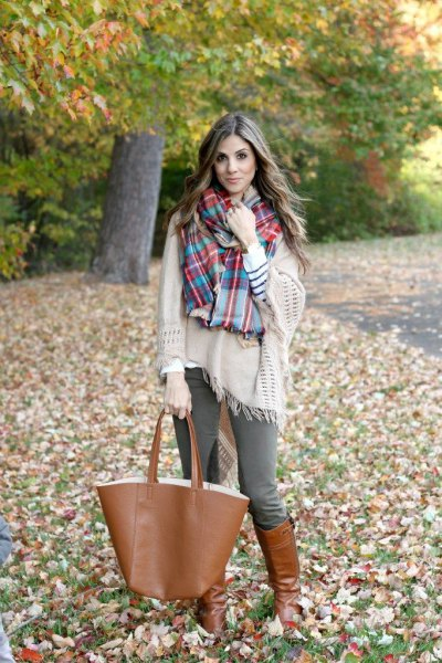 blanket sweater plaid scarf riding pants