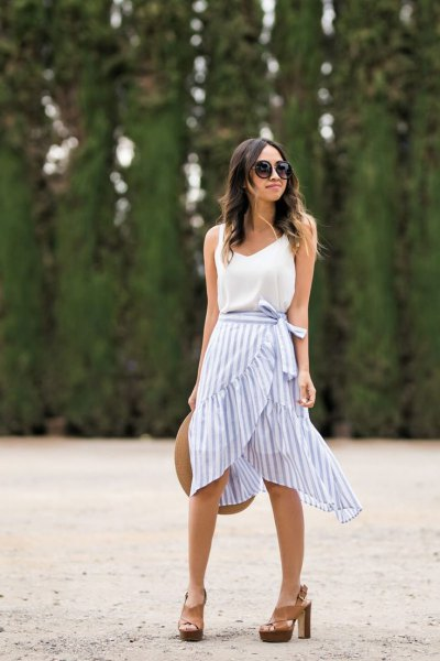 blue and white striped ruffle skirt