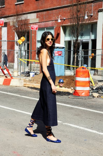 blue ballet flats sleeveless maxi dress