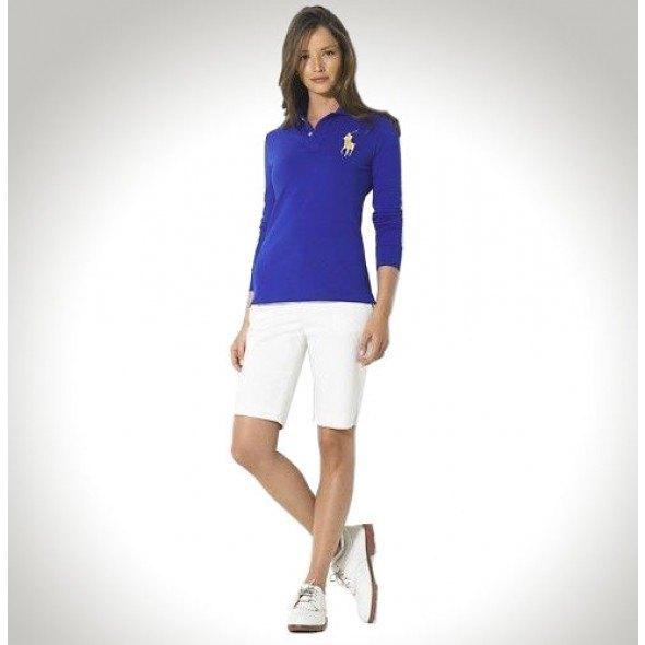 blue long sleeve skinny fit polo shirt