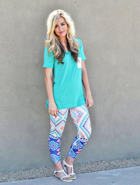 blue printed leggings tiffany t shirt