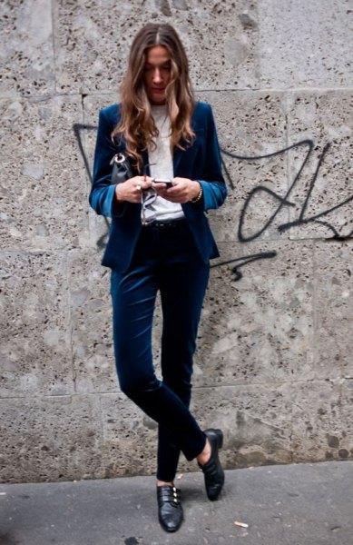 blue velvet blazer suit outfit