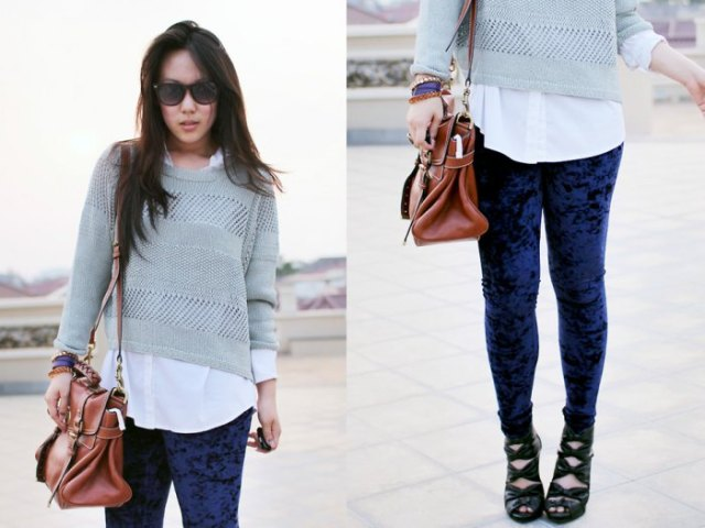 blue velvet leggings grey cropped sweater