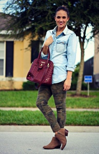 boyfriend denim shirts army camo pants