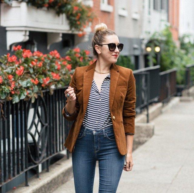 brown corduroy blazer black and white striped shirt
