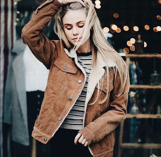 brown corduroy jacket striped t shirt black jeans