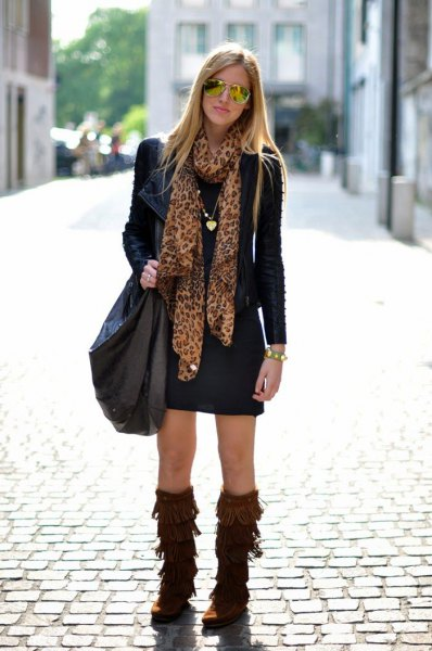 brown fringe boots black shift dress leather jacket